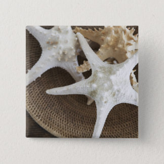 Starfish in a basket 15 cm square badge