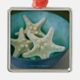 Starfish in bowl Silver-Colored square decoration