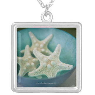 Starfish in bowl silver plated necklace