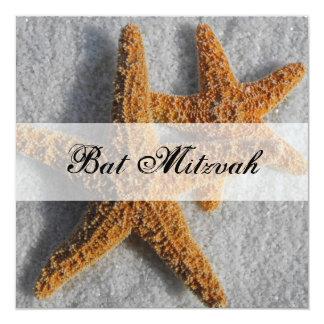 Starfish in the Sand Bat Mitzvah 13 Cm X 13 Cm Square Invitation Card