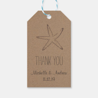 Starfish Kraft Paper | Nautical Wedding Thank You Gift Tags