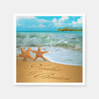 Starfish Lovers CONTACT ME TO DRAW NAMES IN SAND Disposable Serviettes