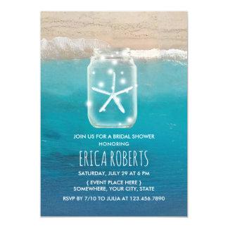 Starfish Mason Jar Tropical Beach Bridal Shower Card