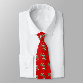 Starfish n Holly Bright Red Christmas Season Tie