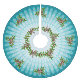 Starfish n Holly Christmas Wreath Aqua Blue Brushed Polyester Tree Skirt