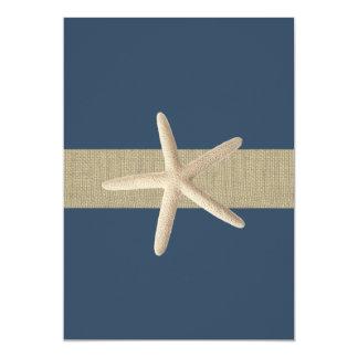 Starfish Navy Blue Stripes Beach Wedding 13 Cm X 18 Cm Invitation Card