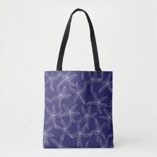 Starfish Navy Blue Tote Bag