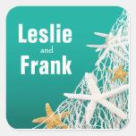 Starfish Netting Beach Wedding Favour | aqua Square Sticker