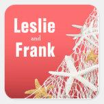 Starfish Netting Beach Wedding Favour | coral Square Sticker
