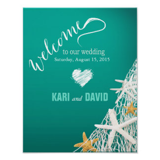 Starfish Netting Beach Wedding Welcome Sign aqua