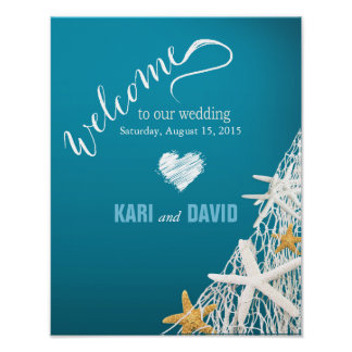 Starfish Netting Beach Wedding Welcome Sign azure