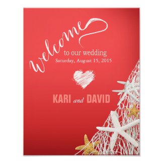 Starfish Netting Beach Wedding Welcome Sign coral Poster