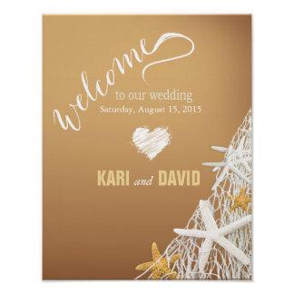 Starfish Netting Beach Wedding Welcome Sign   sand Print