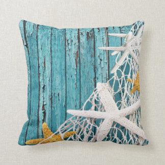 Starfish Netting Beach Wood | sea green Throw Pillow