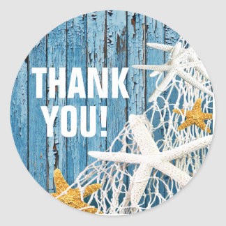 Starfish Netting Beach Wood Thank You | blue Classic Round Sticker