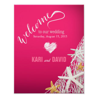 Starfish Netting Wedding Welcome Sign | fuschia Poster