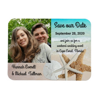 Starfish Ocean Beach Photo Magnetic Save the Date Magnet