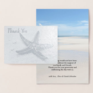 Starfish Ocean Summer Beach Theme Wedding Thanks Foil Card
