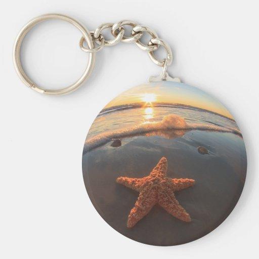 Starfish on Beach at Sunset Key Chains