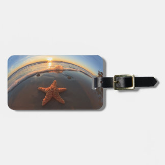 Starfish on Beach at Sunset Luggage Tag