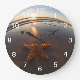 Starfish on Beach Large Clock
