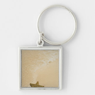 Starfish on sandy beach, Gibbs Cay Land and Silver-Colored Square Key Ring