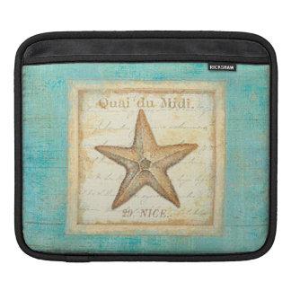 Starfish on Teal Wood iPad Sleeve
