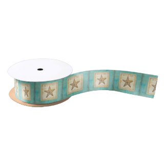 Starfish on Teal Wood Satin Ribbon