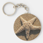 Starfish on the beach basic round button key ring