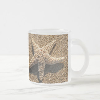 Starfish on the beach frosted glass coffee mug