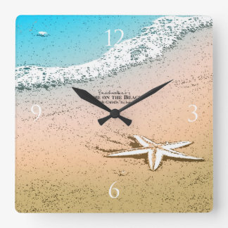 Starfish on the Beach Square Wall Clock