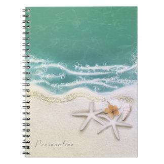 Starfish on the Beach Teal Sea Water Elegant Notebooks
