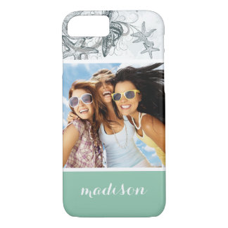 Starfish On The Sea Pattern   Your Photo & Name iPhone 7 Case