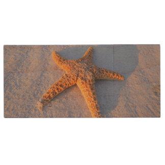 Starfish On White Sand Wood USB 2.0 Flash Drive