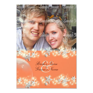 Starfish orange blue white wedding card