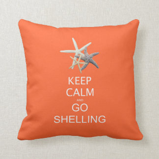 Starfish Orange Keep Calm Coastal Decor Pillow