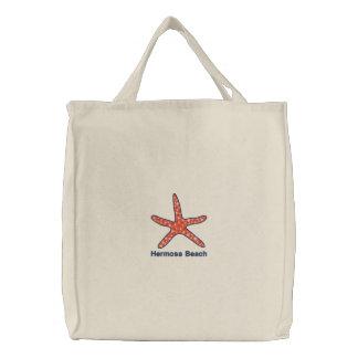 Starfish Orange Personalized Beach Embroidered Tote Bag