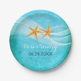 Starfish pair and veil turquoise beach wedding paper plate