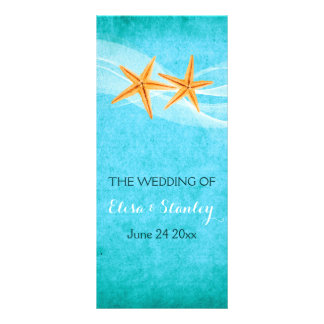 Starfish pair & veil beach wedding program personalised rack card
