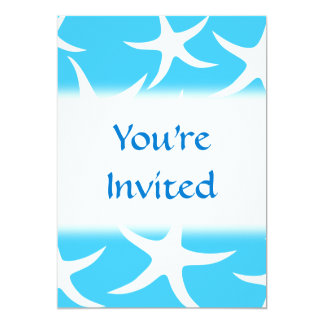 Starfish Pattern, Bright Turquoise Blue and White. 13 Cm X 18 Cm Invitation Card
