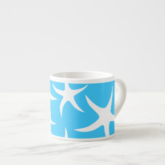 Starfish Pattern, Bright Turquoise Blue and White. Espresso Cup