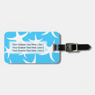 Starfish Pattern, Bright Turquoise Blue and White. Luggage Tag