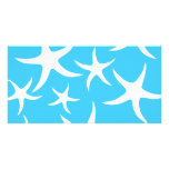 Starfish Pattern, Bright Turquoise Blue and White. Photo Card Template