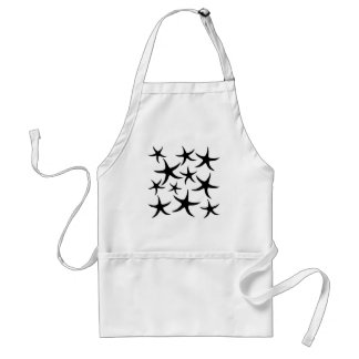Starfish Pattern in Black and White. Standard Apron