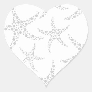 Starfish Pattern in Light Gray and White Heart Sticker