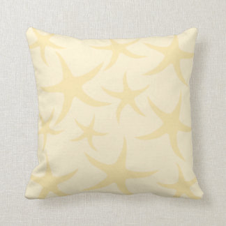 Starfish Pattern in Pastel Yellow. Cushion