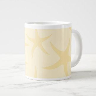 Starfish Pattern in Pastel Yellow. Large Coffee Mug