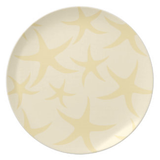 Starfish Pattern in Pastel Yellow. Plate