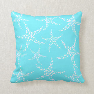 Starfish Pattern in Turquoise and White. Cushion