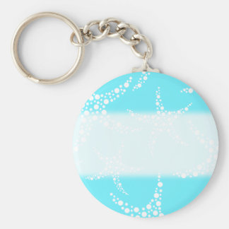 Starfish Pattern in Turquoise and White. Key Ring